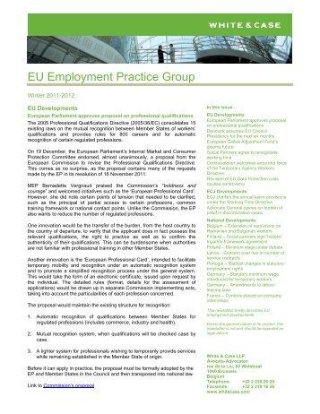 European Employment Report, Winter 2011 - White & Case