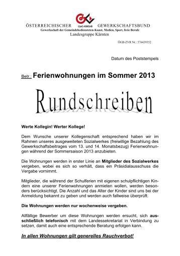 Betr.: Ferienwohnungen im Sommer 2013 - Klagenfurt