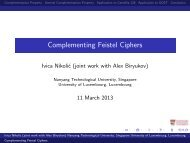 Complementing Feistel Ciphers - FSE 2013 - Nanyang ...