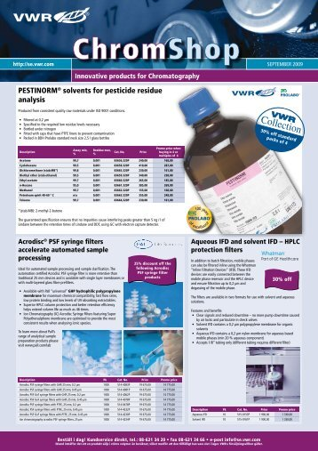 PESTINORM® solvents for pesticide residue analysis - VWR ...