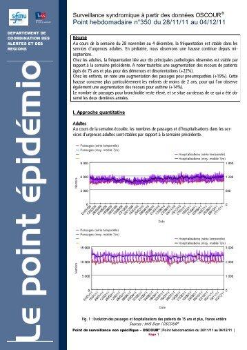 Point hebdomadaire n°350 du 28/11/11 au 04/12/11 - COLMU