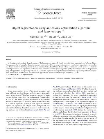 Object segmentation using ant colony optimization algorithm and ...