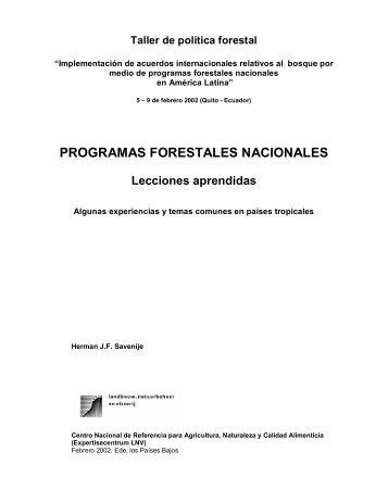 PROGRAMAS FORESTALES NACIONALES - CEDAF