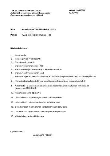 esityslista - Automaatio- ja systeemitekniikan laitos