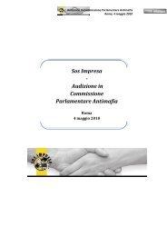 Sos Impresa - Audizione in Commissione Parlamentare Antimafia