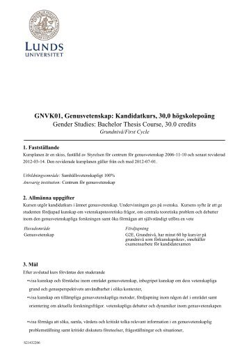 GNVK01, Genusvetenskap - Humanekologi Lunds universitet