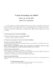 Relevé de conclusions, 12 juin 2009 - Le portail des IREM