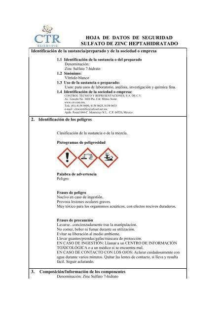 Sulfato de zinc propiedades fisicas y quimicas