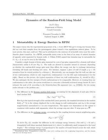 Dynamics of the Random-Field Ising Model 1 ... - Cornell University
