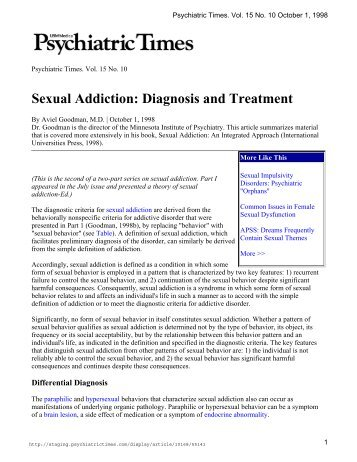 Diagnosis and treatment of sex addiction