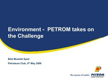 Environment - PETROM takes on the Challenge - Petroleumclub.ro