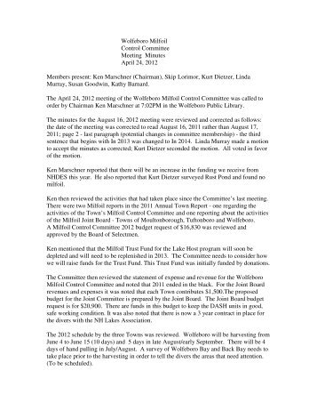 Wolfeboro Milfoil Control Committee Meeting Minutes April 24, 2012 ...