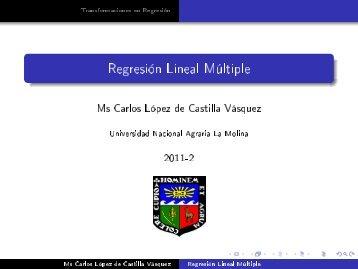 Regresión Lineal Múltiple - Universidad Nacional Agraria La Molina