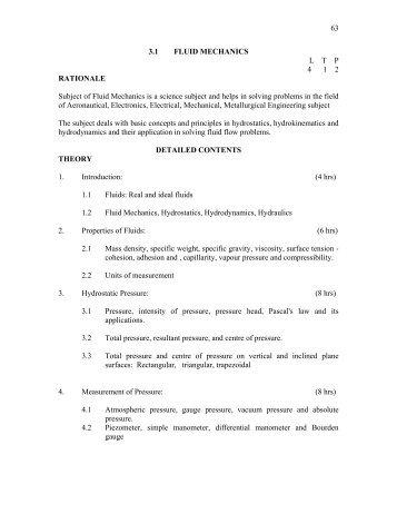 63 3.1 FLUID MECHANICS L    T    P    4 1 2 RATIONALE Subject of ...