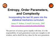 Entropy, Order Parameters, and Complexity - Cornell University