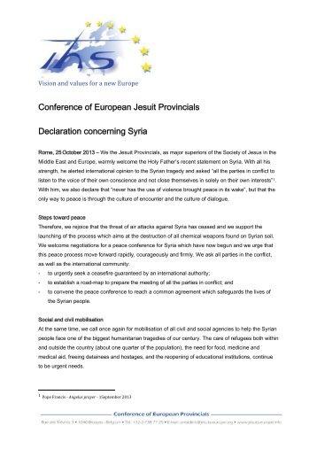 Conference of European Jesuit Provincials Declaration ... - JRS