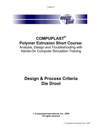 Design & Process Criteria Die Drool