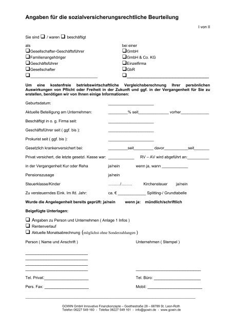 Angaben für die sozialversicherungsrechtliche Beurteilung ... - Gowin