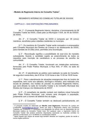 Modelo de Regimento Interno do Conselho Tutelar - Ministério ...