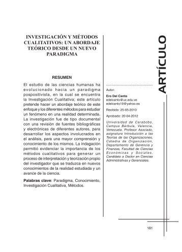 Investigación y métodos cualitativos - Portal de Revistas ...