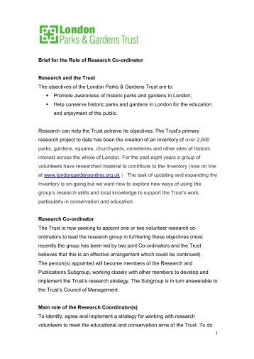 1 Brief for the Role of Research Co-ordinator Research and the ...
