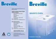 BAKER'S OVEN Instructions and Recipes - Breville