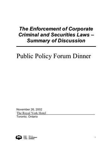 The Enforcement of Corporate Criminal and Securities Laws