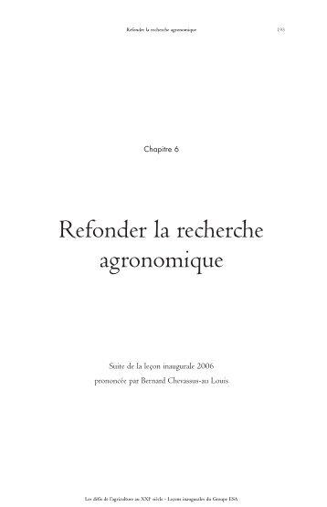 Refonder la recherche agronomique de Bernard ... - Vintage
