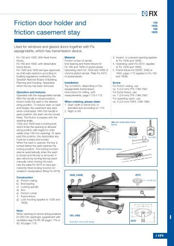 Friction door holder and friction casement stay - BJ Waller Limited