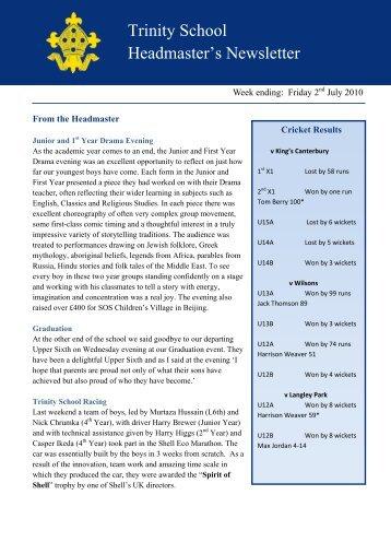 HM Newsletter Week ending 2nd July 2010 - Trinity School