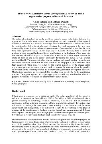 Indicators of sustainable urban development: A review of urban ...