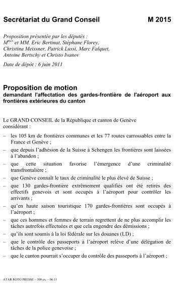 M 2015 - demandant l'affectation des gardes ... - Etat de Genève