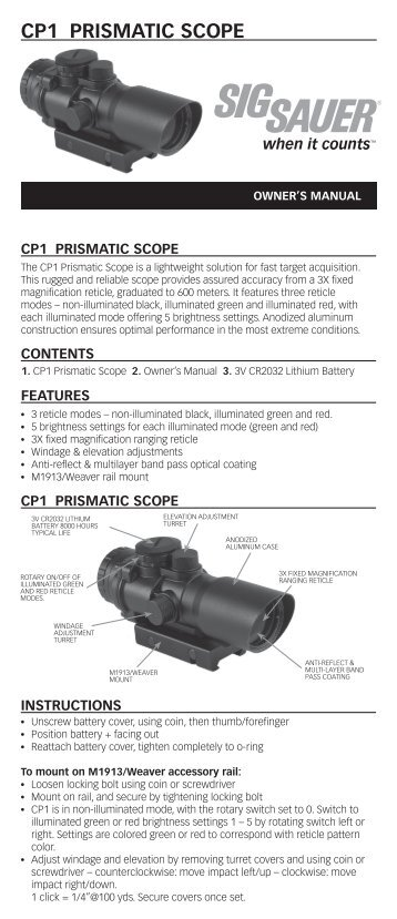 CP1 Prismatic Scope Instructions - Sig Sauer