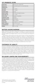 CP1 Prismatic Scope Instructions - Sig Sauer - Page 2