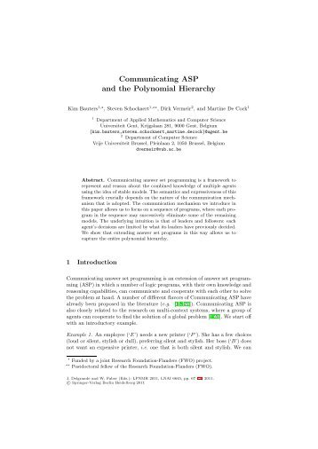 Communicating ASP and the Polynomial Hierarchy - Computational ...