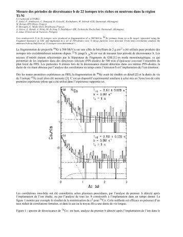 Mesure des périodes de décroissance beta de 22 isotopes ... - Cenbg