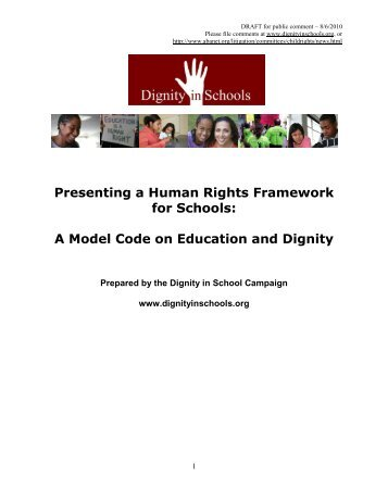 draft of the Model Code - Dignity In Schools