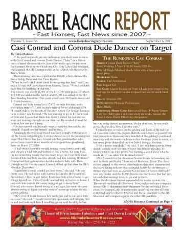 CASI CONRAD - Barrel Racing Report
