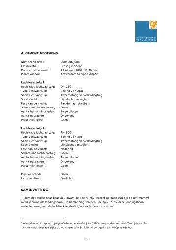 ALGEMENE GEGEVENS SAMENVATTING - Onderzoeksraad voor ...