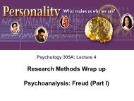 Research Methods Wrap up Psychoanalysis: Freud (Part I)