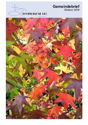 Gemeindebrief Oktober 2009-HP - Christusgemeinde