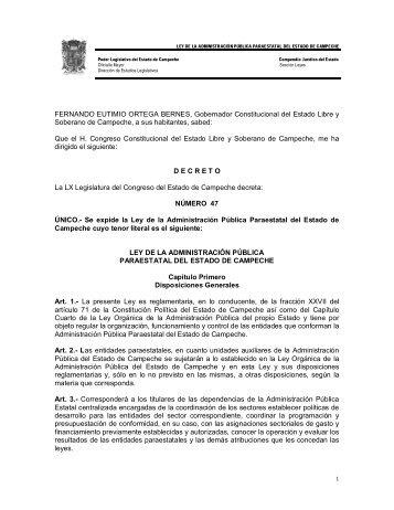 Ley de la Administración Pública Paraestatal del Estado de ...