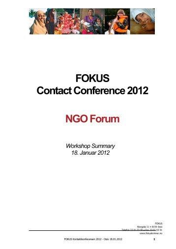 FOKUS Contact Conference 2012 NGO Forum Workshop Summary ...
