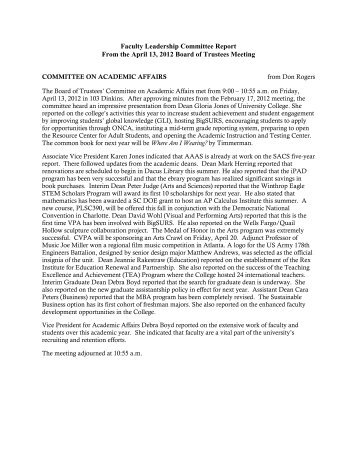 Report from the Faculty Leadership Committee on April 13, 2012 ...