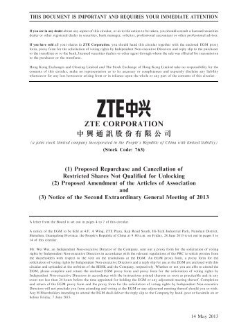Proposed Amendment of - ZTE