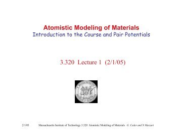 Atomistic modeling of materials - mit