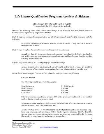 Accident & Sickness - Insurance Institute of Canada