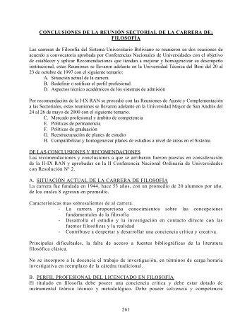 FILOSOFÍA Las carreras de Filosofía del Sistema Universitario Boli