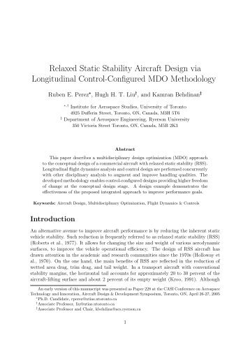 Relaxed Static Stability Aircraft Design via Longitudinal Control ...