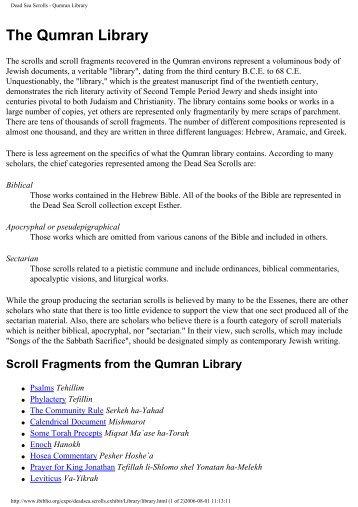 Dead Sea Scrolls - Qumran Library - documentacatholicaomnia.eu